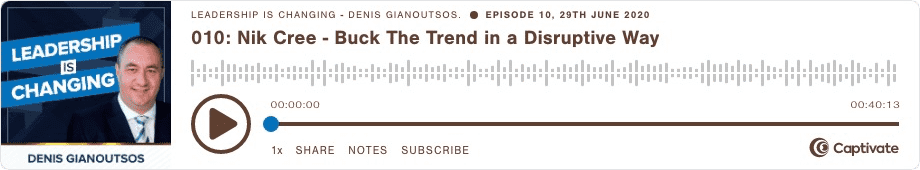 Buck The Trend The Disruptive Way Podcast Nik Cree and Denis Gianoutsos