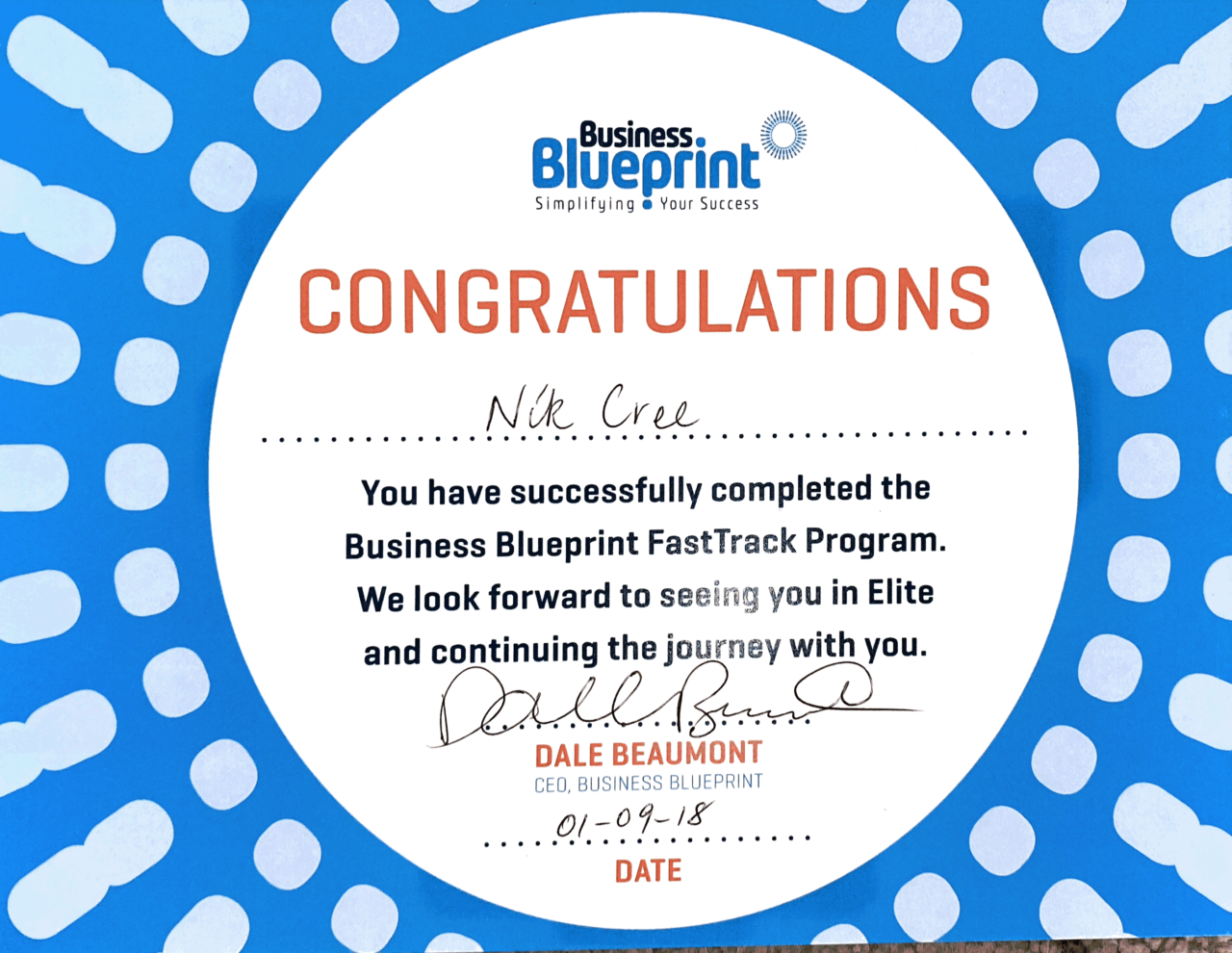 Business Blueprint Completion Certificate 2018 Nik Cree